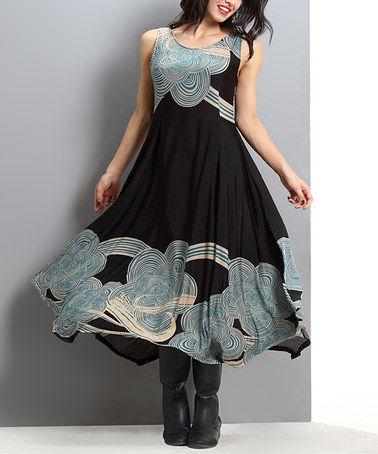 d7837ac299 Look at this  zulilyfind! Black   Teal Cloud Sleeveless Handkerchief Maxi  Dress - Plus  zulilyfinds