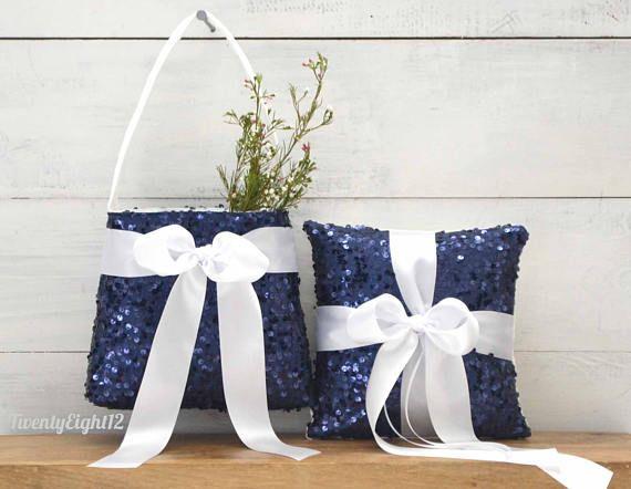 Flower Girl Basket And Ring Bearer Pillow Set Navy Sequin And