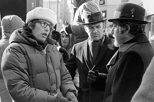 Friedkin, Hackman, Rey on set of FRENCH CONNECTION.