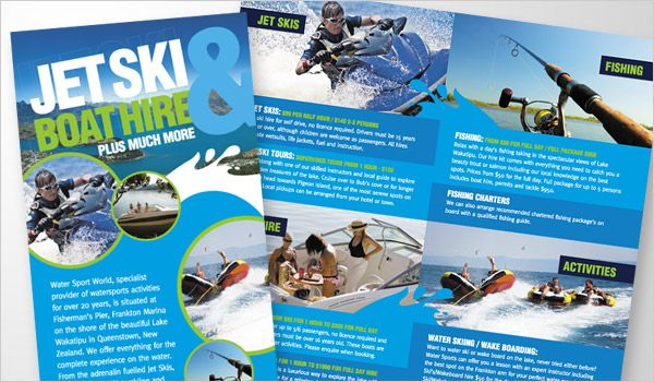 Water Sport World Folded Leaflet  Graphic Design