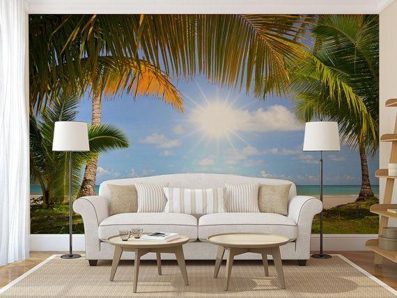Tropical beach wall mural self adhesive photo mural Beach wall