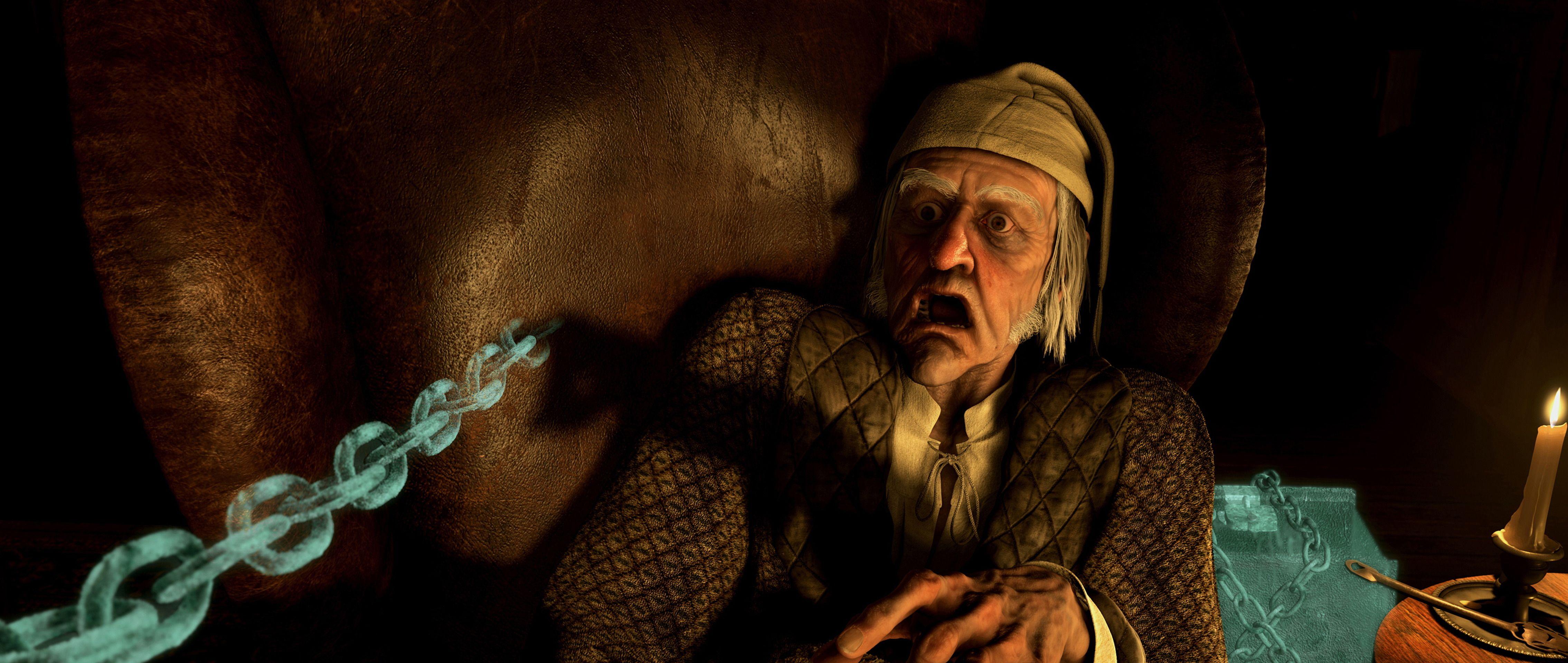 """A Christmas Carol"" movie still, 2009. Jim Carrey as Ebenezer Scrooge. | Christmas carol, Carole ..."