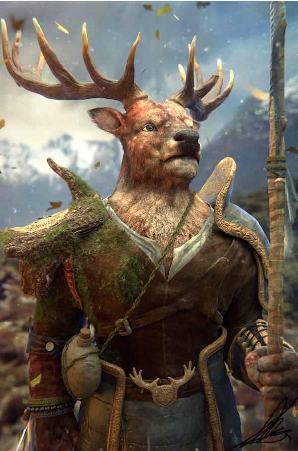 Dorgok A Spell Cast Him As A Deer Man In 2019 Deer Art