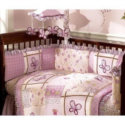 Cocalo Sugar Plum Purple Butterfly Floral Ruffled Crib Bumper Pad