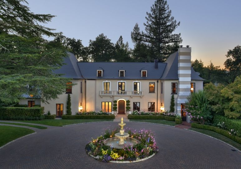 big circle drive with center fountain | Tuscan Curb Appeal ...