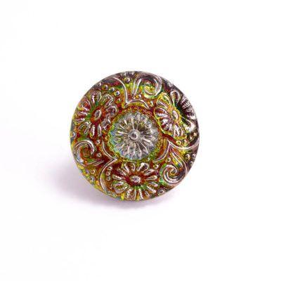 BUT0053 22mm Green Vitrail Flower Czech Glass Button