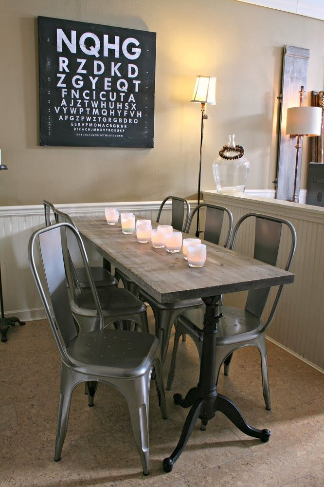 Weathered Wood Dining Table, Restoration Hardware, Metal Chairs,  Glassybaby, Drafting Table Base