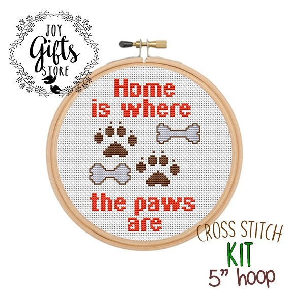 Home Is Where The Paws Are Counted Cross Stitch Kit  Funny Cross