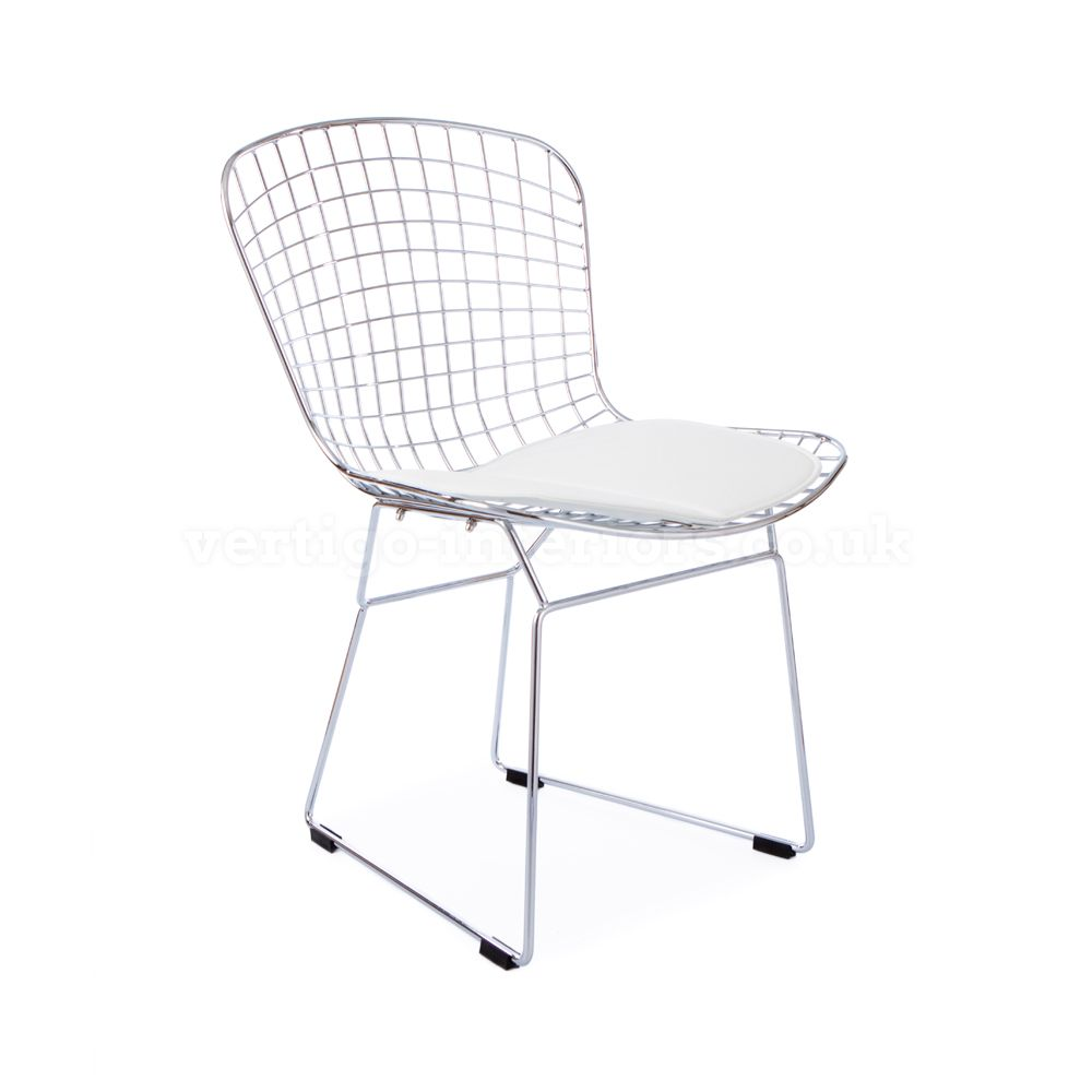 Products | Vertigo Interiors USABertoia Style Wire Side Chair - White Seat Pad | Vertigo Interiors USA