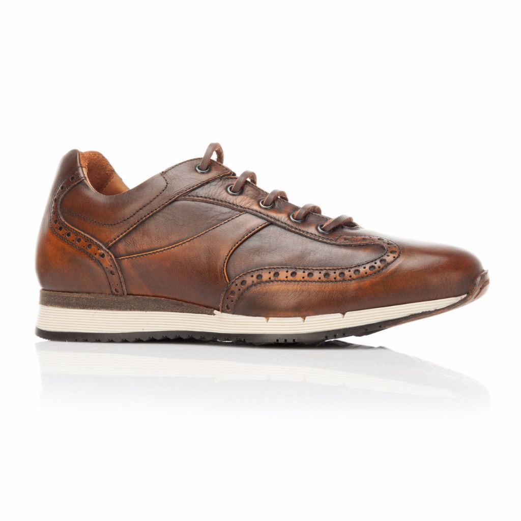 Hand Dyed Aged Cognac Leather Trainer