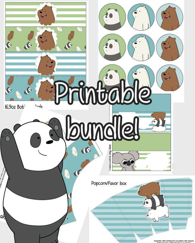 We Bare Bears Party Printable Bundle Stickers Cupcake Wrappers Popcorn Box Treat And Bottle Labels Cute Bear Party We Bare Bears Bear Birthday