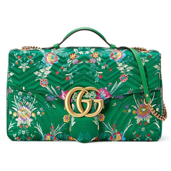 31b267bd0bae Gucci Gg Marmont Maxi Floral Jacquard Shoulder Bag (47.970 ARS) ❤ liked on  Polyvore featuring bags, handbags, shoulder bags, green, green purse, gucci  ...