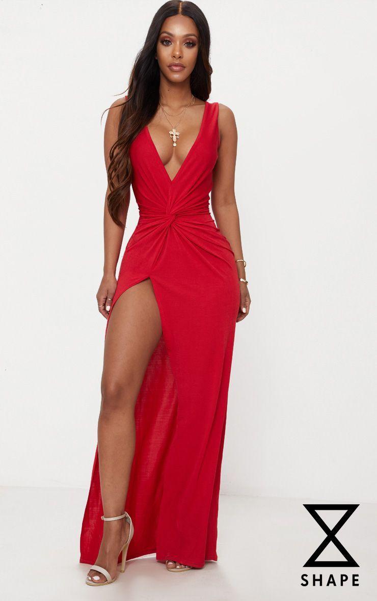 Shape red slinky wrap detail maxi dress womenus fashion