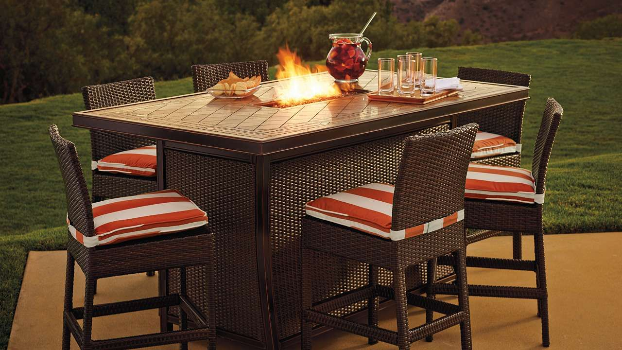 Counter Height Fire Table Set