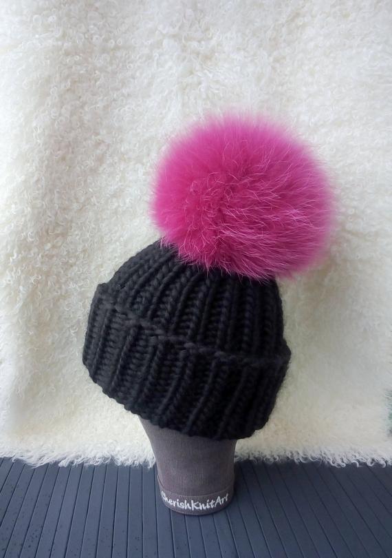 72125eb23c3 Chunky Wool Knit Hat Raccoon Fur Pompom Beanie Hand Knit Hat Black Beanie Huge  Pompom Hat Pom Bulky