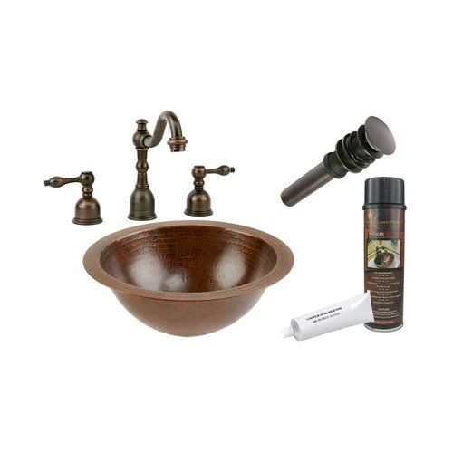 Photo of Premier Copper Products 12″x12″ Round Undermount Sink Package – Oil Rubbed Bronze LR12FDB