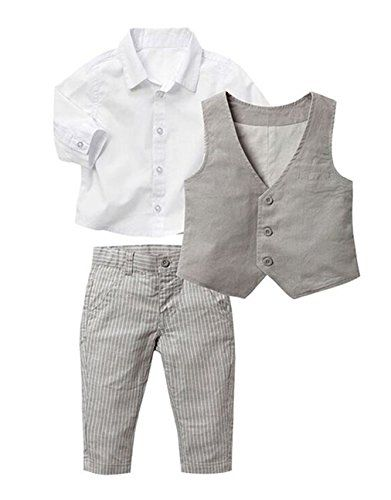 dff0b4f88861 Baby Kid Boy Khaki and White Formal Wear Shirt Vest and Pants 3-piece  4-5Years White ** Continue to the product at the image link.