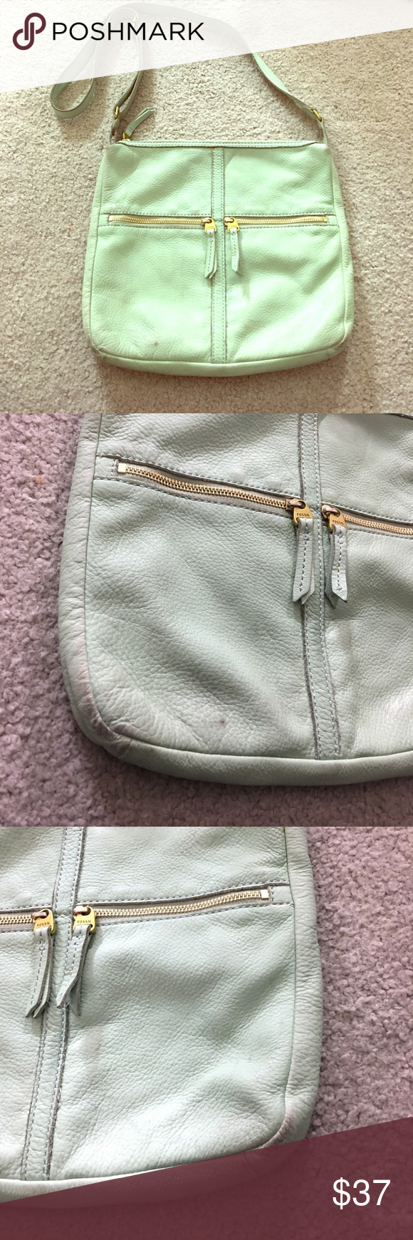 🗝 Fossil sea green med leather cross-body purse🗝 Fossil see green leather Crossbody messenger style bag see photos for details very cute has a place for ID and or phone as well as inside the pocket and two zipper pockets on the outside adjustable strap very cute great for spring and summer or even fall non-smoking home fast delivery at an excellent price get it today Fossil Bags Crossbody Bags
