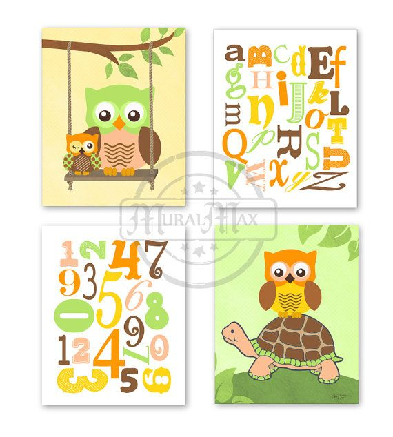 Owl Decor Alphabet Nursery Baby Boy Nursery Art  - Wall Art ,Set of three 8 x 10 - Boys Woodland Owl and Alphabet Nursery Art