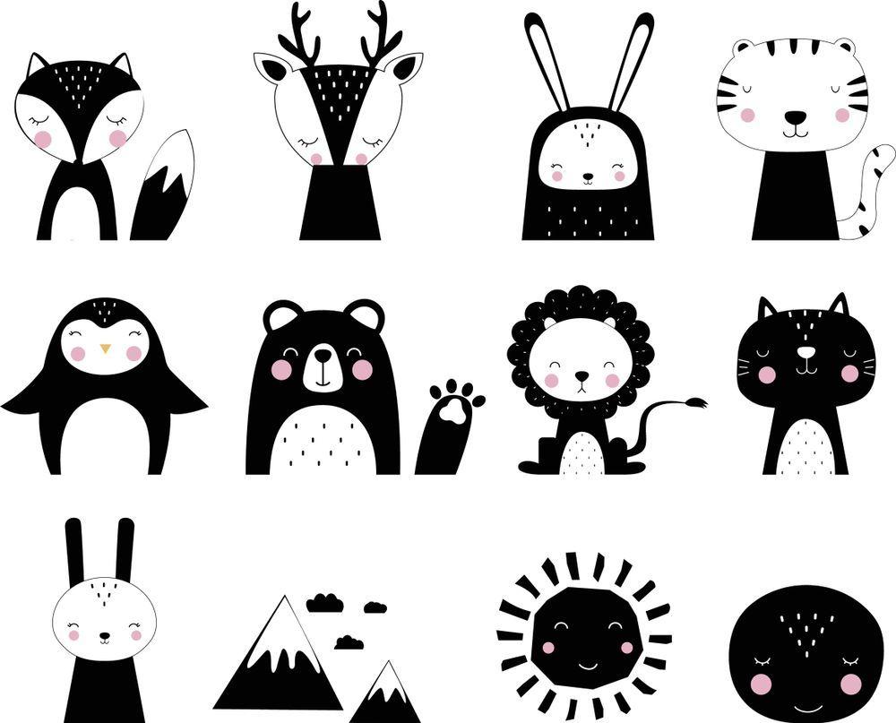 Cute Vector Animals Print Scandinavian Style Animals Black And White Animal Illustration Animal Print
