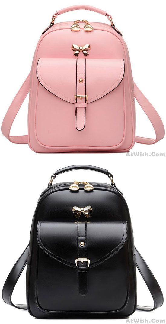 b605404fcf Pink or black  Cute Girls  Bow Buckle Student Bag Simple PU College Backpack   backpack  college  school  student  bag  fashion  bow