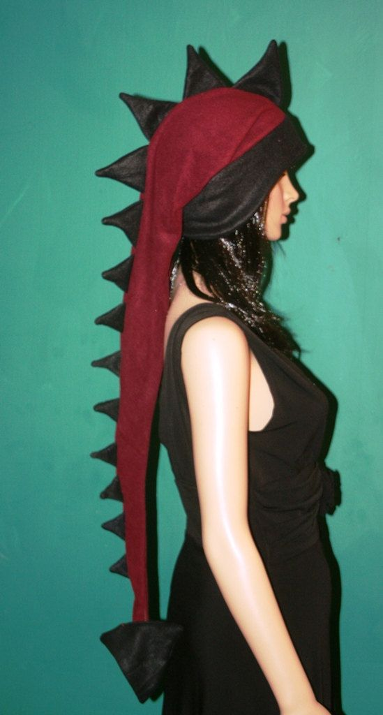 Extra Long Burgundry and Black Dragon Dinosaur Ski Hat Warm Winter ... 4ae9131887b