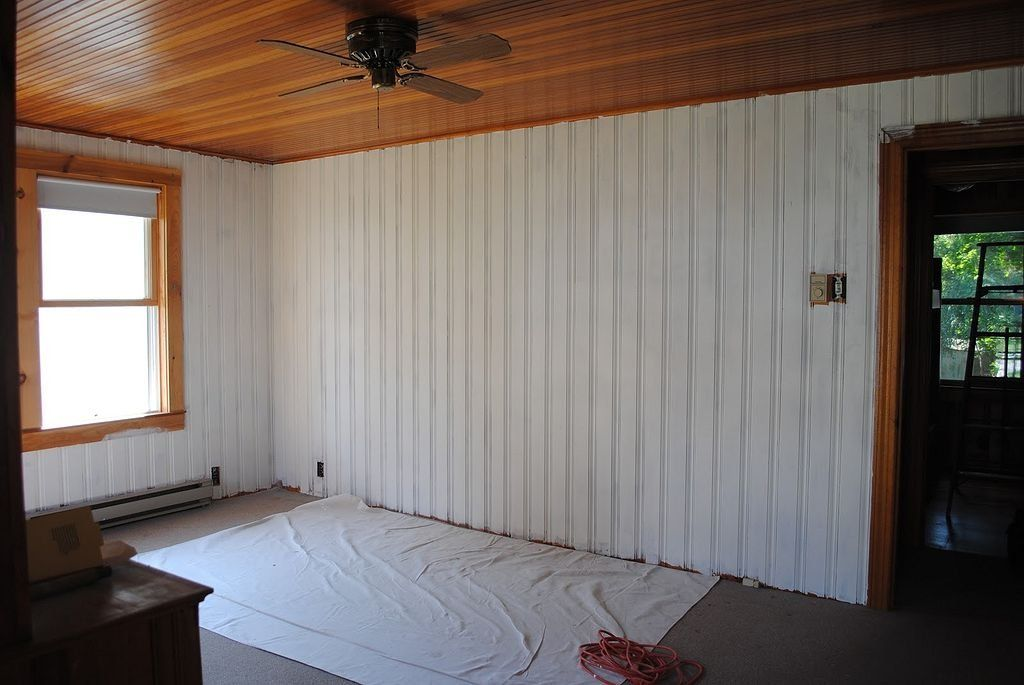 To Begin Of Course You Will Need To Have A Really Good Planked Wall In Case You Have A Big Wall To Do Paneling Makeover Knotty Pine Walls Painted Wood Walls