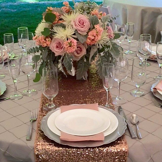 Love these #blush #pastels u0026 gold #sequin table runner! Setup by #PreferredVendor @lovebloomsweddings & Love these #blush #pastels u0026 gold #sequin table runner! Setup by ...