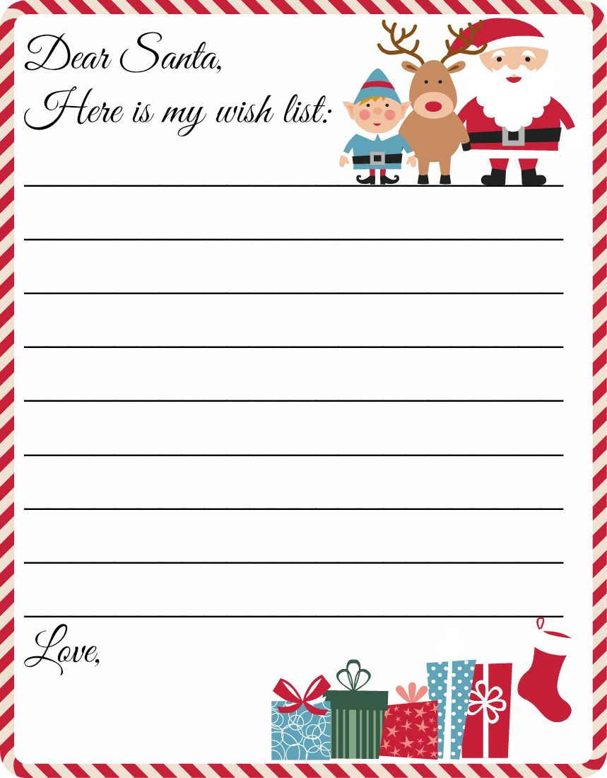 Free Printable Letter To Santa Template Cute Christmas Wish List - Free printable letter from santa template