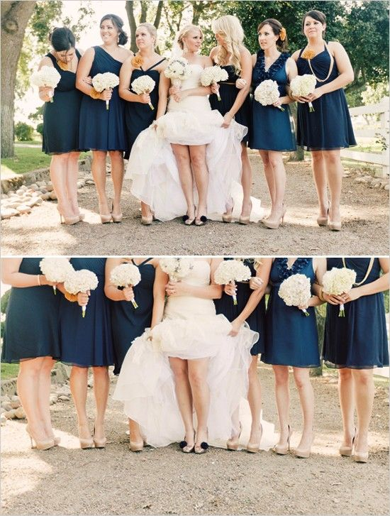 140287d6ea112 navy blue bridesmaid dresses neutral shoes.....but then I'll be in navy  pumps!!! Love this idea!