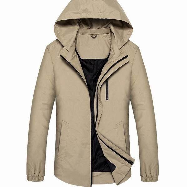 Men's Waterproof Windproof Lightweight Detachable Hooded Jacket With Zippered Chest Pocket