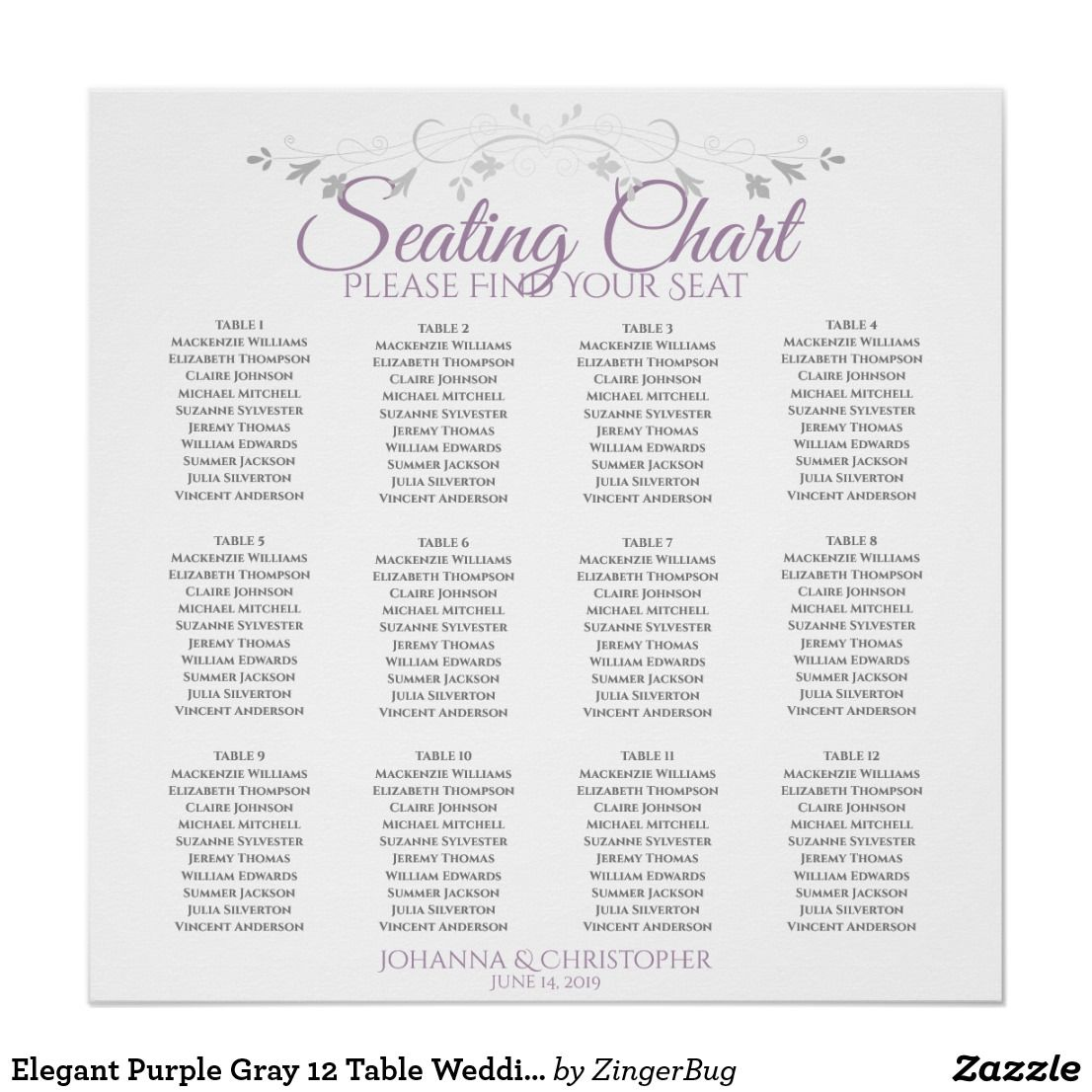 Elegant Purple Gray 12 Table Wedding Seating Chart Zazzle Com Wedding Seating Seating Chart Wedding Seating Charts