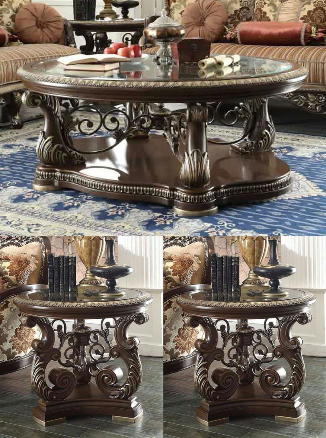 Brown Cherry Coffee Table Set 3pcs Carved Wood Traditional Homey Design Hd 8013 Hd 8013 Ctset3 Traditional Coffee Table Cherry Coffee Table Traditional Coffee Table Sets [ 1450 x 1080 Pixel ]