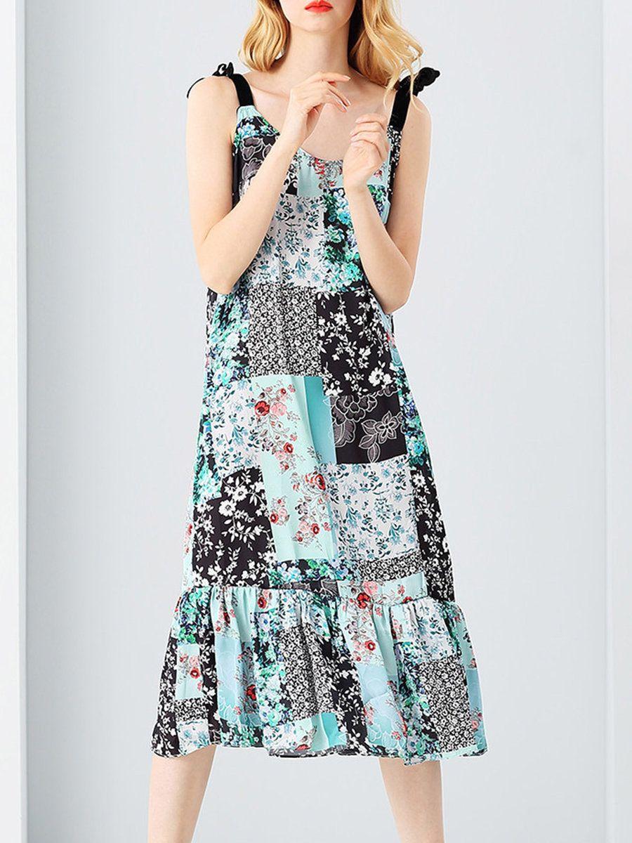 #AdoreWe #StyleWe Midi Dresses❤️Designer NATURAL HOUSE Green Spaghetti Floral-print A-line Midi Dress - AdoreWe.com