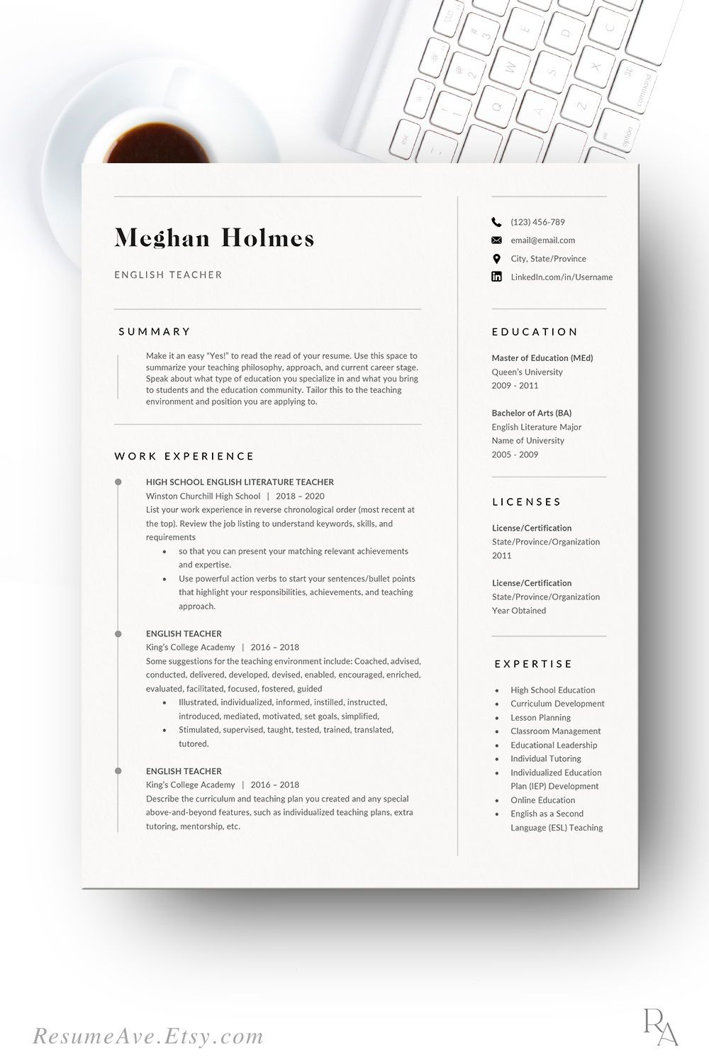 Elegant teacher resume template Word and cover letter