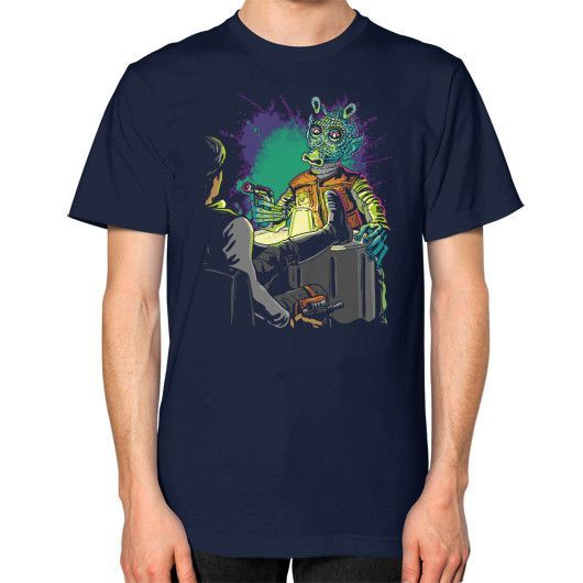 Han or Greedo Unisex T-Shirt (on man)