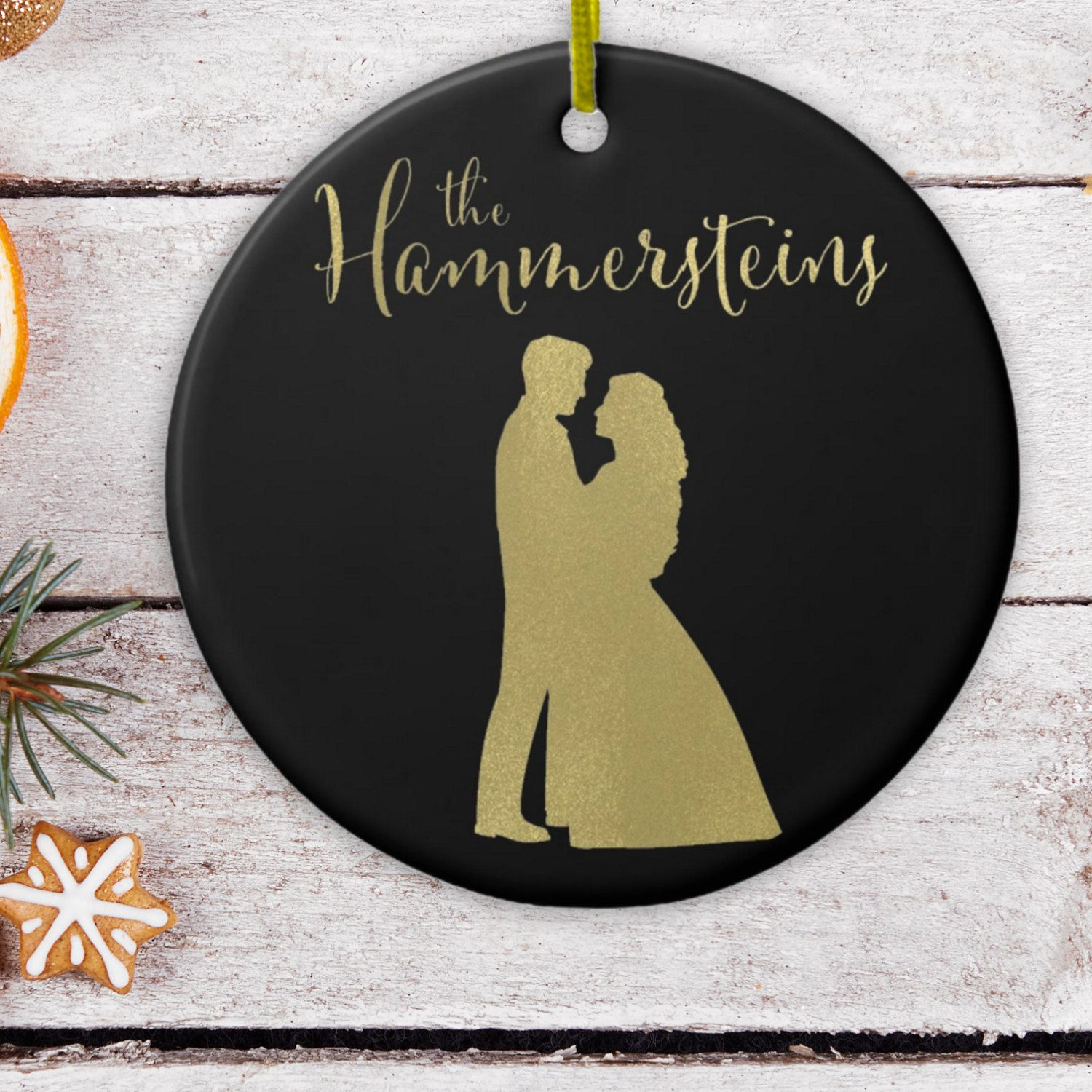First married christmas ornament - Personalized Christmas Ornament With Couple Silhouette For Just Married Couple Keepsake First Married Christmas Ornament