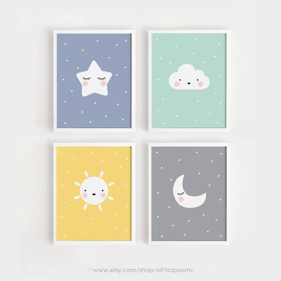 Printable Nursery Art Set of 4 / Star Cloud Sun Moon Poster Baby