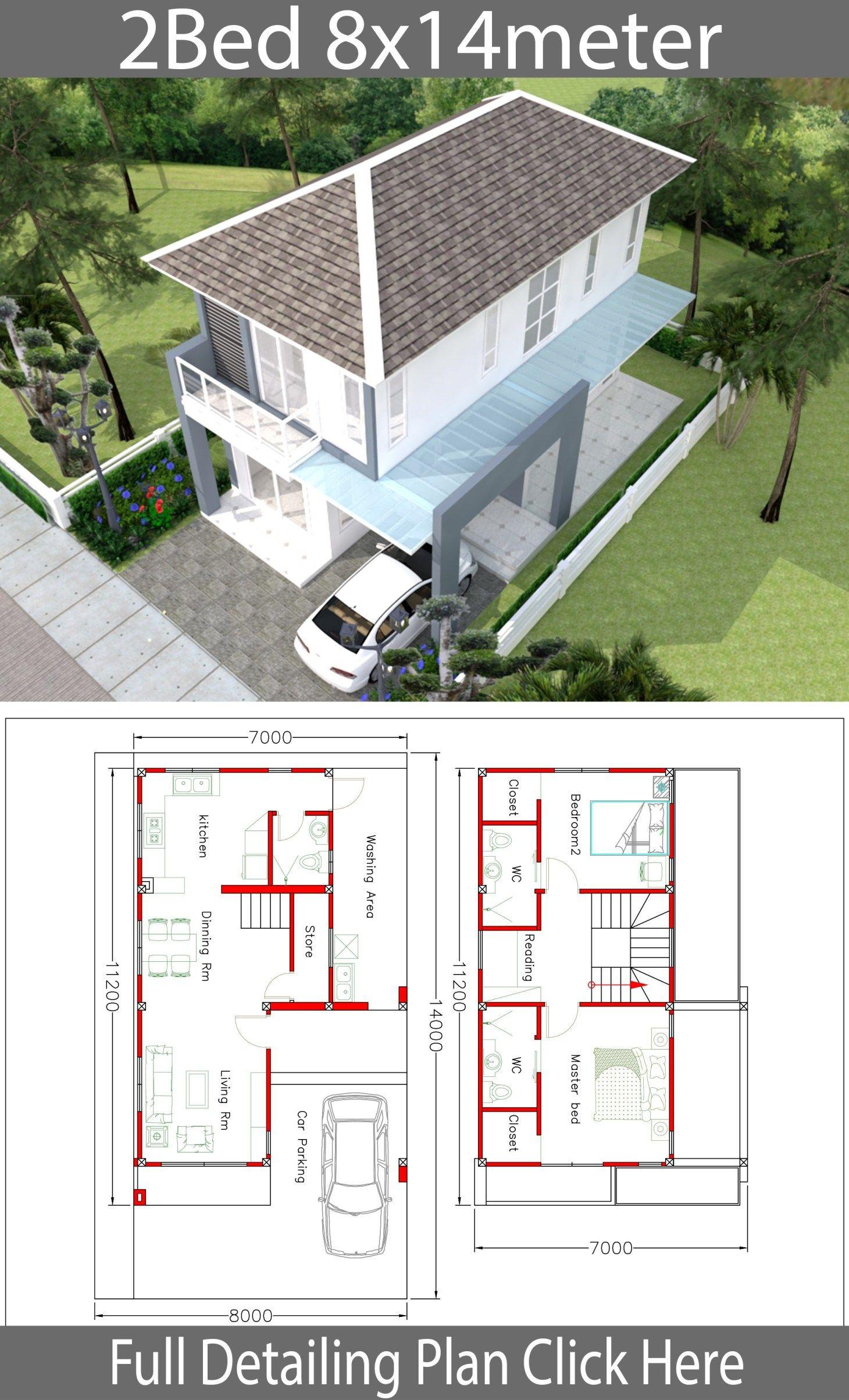 House Design 8x14m With 2 Bedrooms Samphoas Com House Design Home Design Plans Architecture House