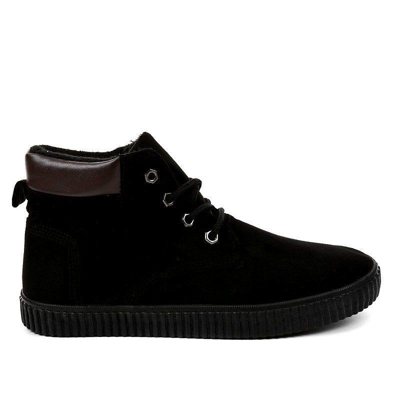 Czarne Ocieplane Meskie Trampki An06 Sneakers Men Sneakers All Black Sneakers