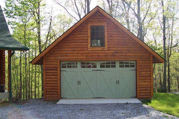 2 Car Log Sided Garage Log Cabin Exterior Garage Apartments Garage House