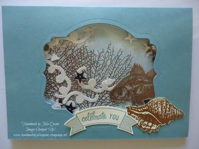 handmade by Julia Quinn  -    Independent Stampin' Up! Demonstrator: By the Tide in a shaker card!!