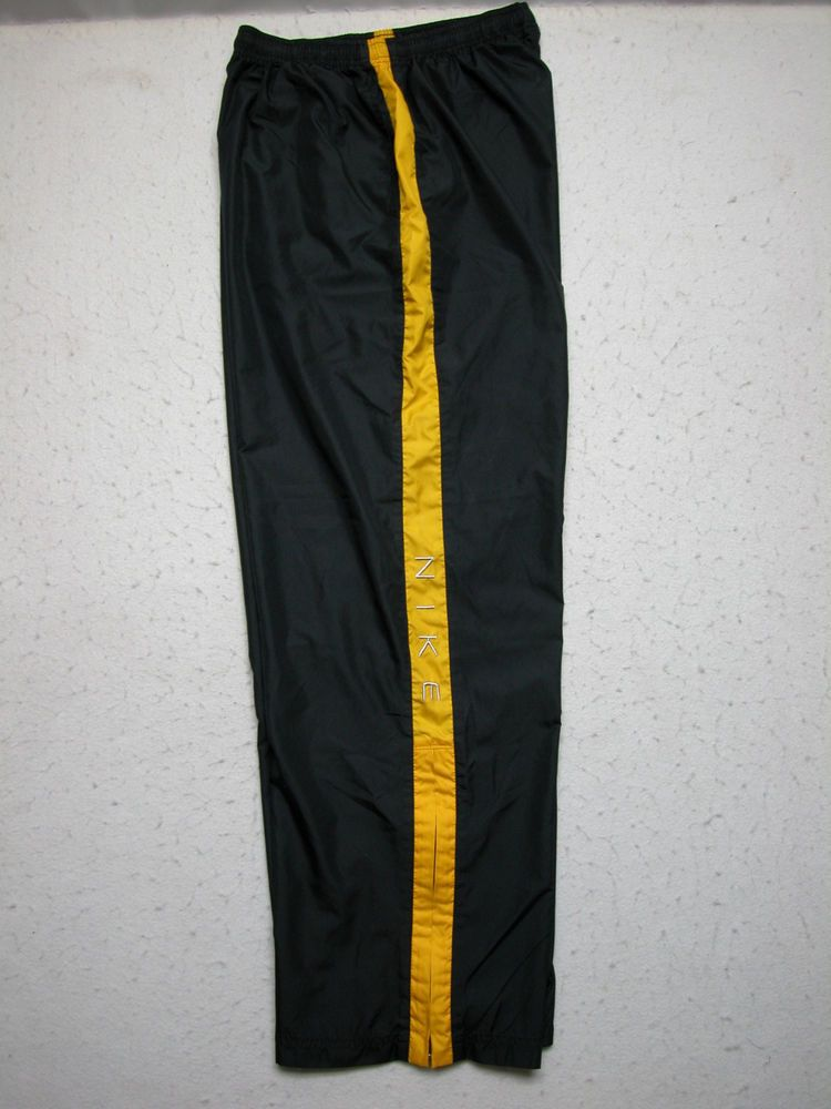 f37a5c86e99d VTG Nike Kids Black Yellow Stripe Windbreaker Pants Large Spellout (26x32)  EUC!  Nike  Pants