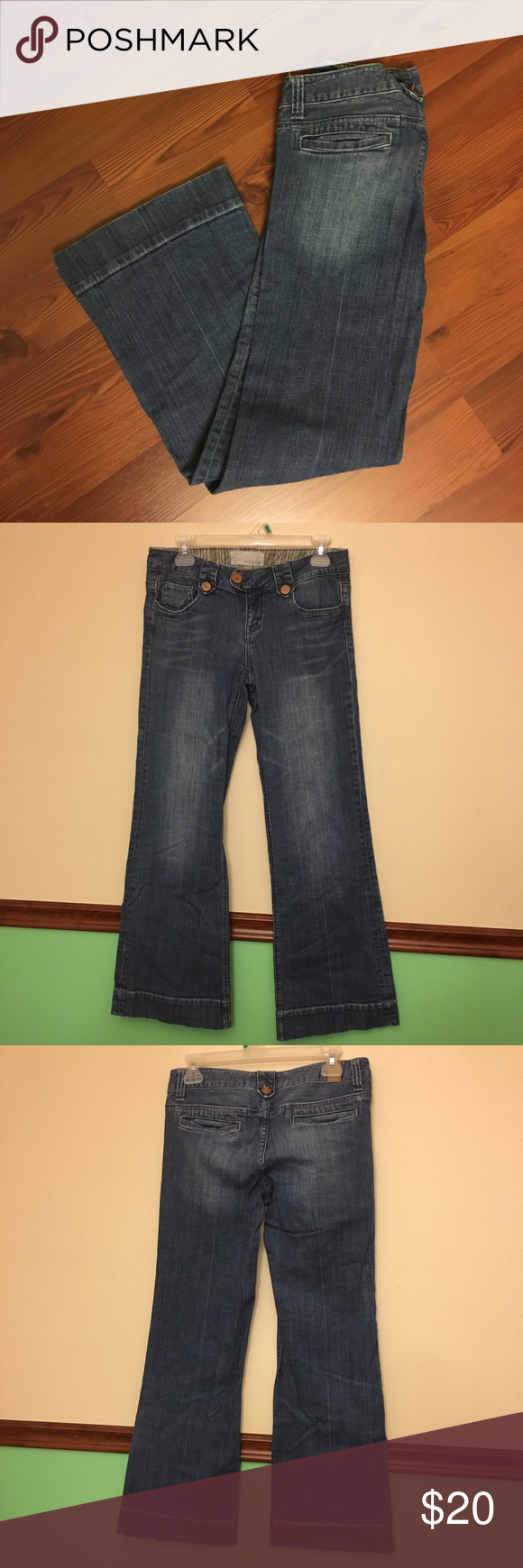 "520d2cc11a6bf Maurice s Flare Jeans - Size 7 8 Medium wash blue jeans - medium wash jean  color. Very nice condition Waist 15"" Inseam 31.5"" Out seam 39"" Leg opening  10.5"" ..."