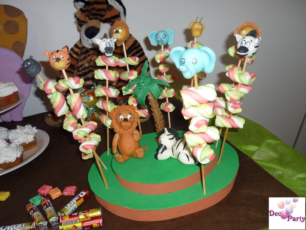 Decoraci n mesa cumplea os infantiles animales de selva - Decoracion de cumpleanos infantiles ...