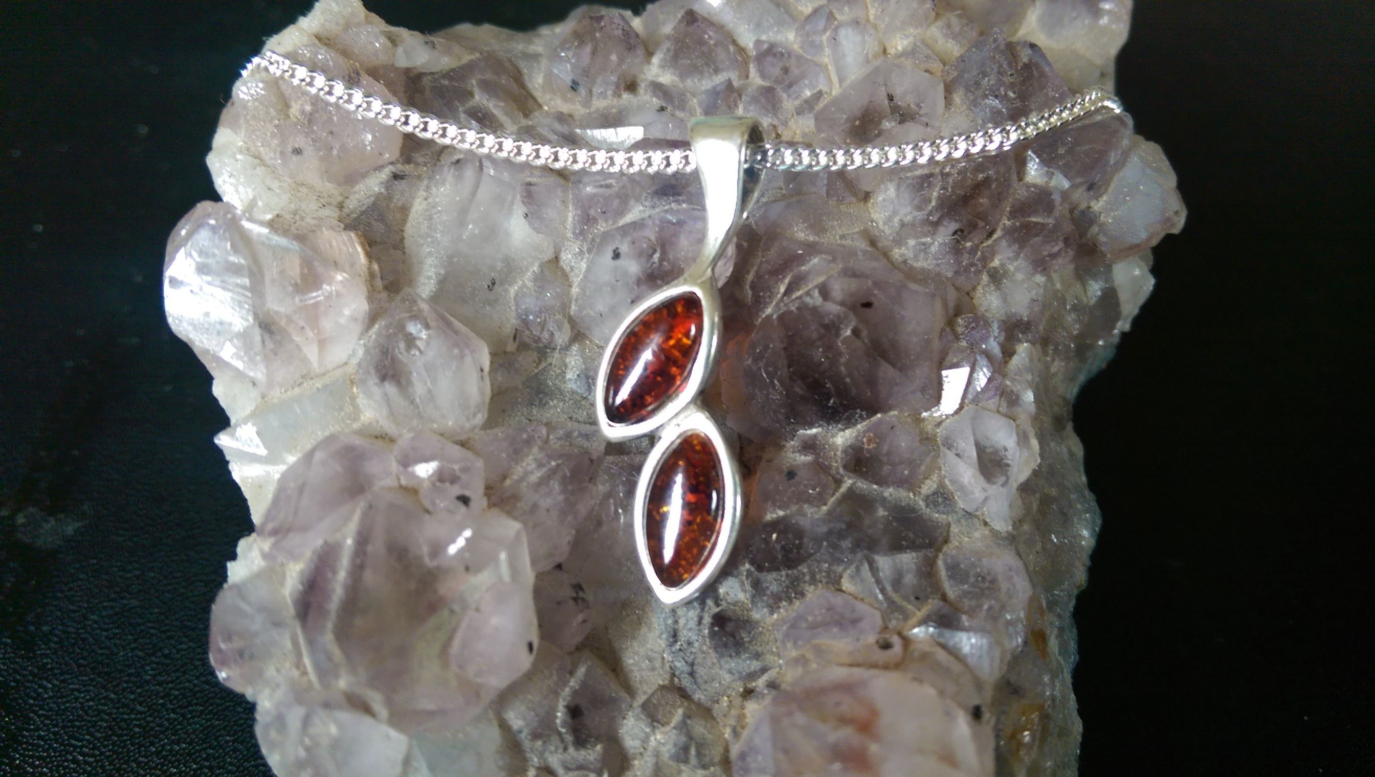 Amber Silver Pendant With Silver Chain