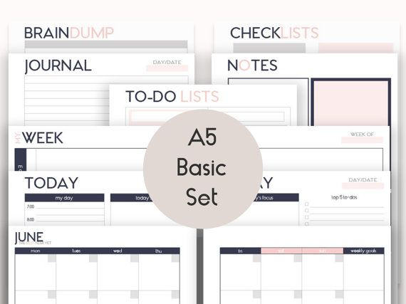 A5 Printable Inserts Refills Basic Set (also fits kikkik PERSONAL - basic p&l template