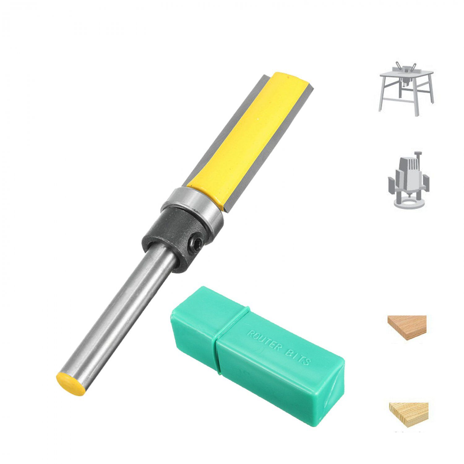 Flush Template Trim Router Bit Carbide Pattern Cnc 2 Flute Wood Cutter 1 4 C3 9 99 Router Bits Trim Router Router