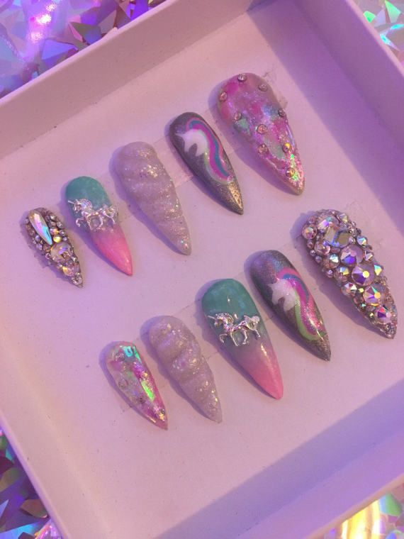 Uniklaws X Unicorn Horn Press On False Nails Drag Nails