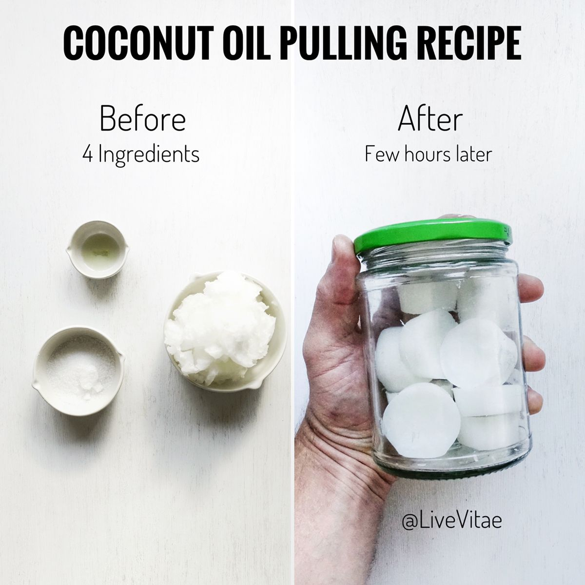 Coconut oil pulling recipe! Oral health and clean white
